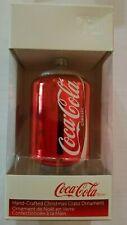 Coca-Cola Christmas Ornament  - Glass Can  - Kurt Adler - NIB