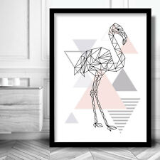 Art Print FLAMINGO light Pink Grey GEOMETRIC Poster MODERN Wall Decor Animal