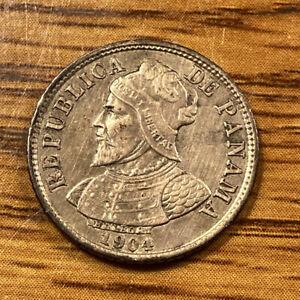 1904 Panama 5 Centesimos Silver Coin