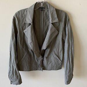 NEW Eileen Fisher cropped jacket organic cotton gray metallic crinkle XS  P/P