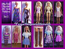 Set 2 - 6 Pattern Set Wardrobe for My Size Barbie Dolls