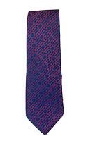 Hugo Boss 100% Silk Tie Navy & burgandy Geometric Pattern 10cm x 148cm