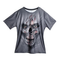 Mens Summer Skull Skeleton Face 3D Print Casual T-Shirt Short Sleeve Graphic Tee