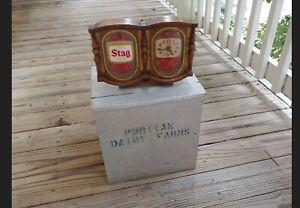 Vintage Stag Beer Lighted Advertising Clock Register Topper Counter Top Sign