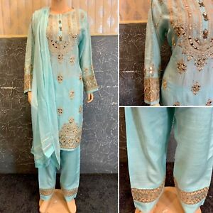 Pakistani  Light Blue Straight Raw Silk  Suit with Fancy Thread & Mirror Work