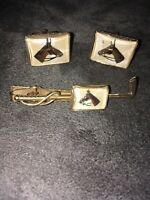 Ansen Cuff Links and Tie Clasp Clip Vintage Antique Horse Equestrian Hunt Polo