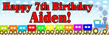 2x6ft Personalized Name Color Train Blue Sky Paper Birthday Party Banner