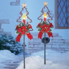 Set of 2 Solar Lighted Christmas Candle In Tree Yard Stakes