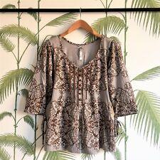 Evans -  Boho Style Brown Women's Blouse -Flower Pattern - Size 14 - 100% Cotton