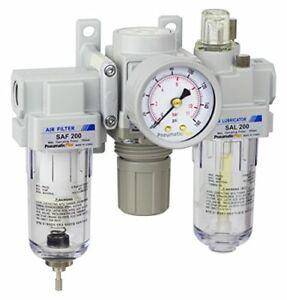 "PneumaticPlus Air Filter Regulator Lubricator Combo 1/4"" NPT250 PSI  SAU200-N02G"
