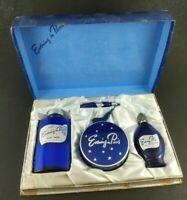 Vintage Vanity Set Evening in Paris Gift Box 50's Perfume Blue Bottles Cosmetics