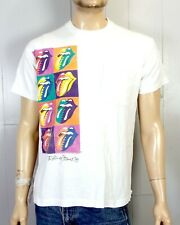 vtg 80s The Rolling Stones 1989 Tour Concert T-Shirt Steel Wheels Andy Warhol L