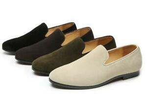 Mens Pointed toe Flats Suede Slip on Loafers Driving Moccasin Gomminos Shoes NEW