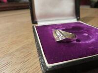 Toller 925 Silber Ring Designer Modern Dreieck Zirkonia Ausgefallen Retro Chic