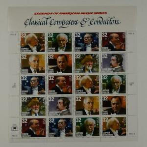 US SCOTT 3158-3165 PANE OF 20 COMPOSERS/CONDUCTORS STAMPS 32 CENT FACE MNH
