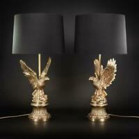 Eagle Lamps | Mid 20th Century French Gilded Bronze Brass Lamp Bases | 27""