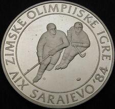 YUGOSLAVIA 100 Dinara 1982 Proof - Silver - Olympics Ice Hockey - 3607 ¤