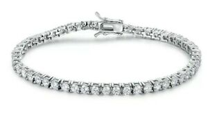White gold finish round cut created diamond tennis bracelet valentines offer