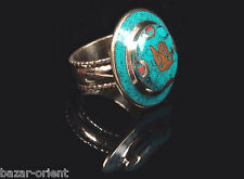 Traditioneller Tibetischer Türkis Ring tibetan turquoise ring neusilber  Nr.8