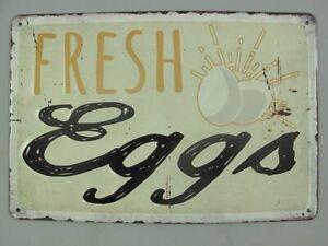 Blechschild, Reklameschild Frische Eier, Fresh Eggs, Gastronomie Schild 20x30 cm