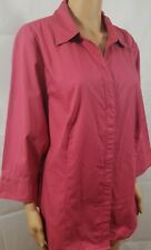 Riders by Lee Shirt Rust Slimming Button Up Stretch Blouse L/S Casual Plus Sz 1X