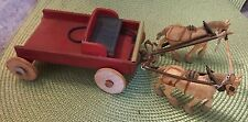 Antique Authentic Looking Miniature Handmade Wood 2 Horses & Carriage
