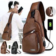 Men's PU Leather Bag Sling Chest Sholder Sports Crossbody USB Charging Handbag
