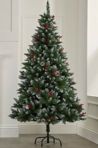 6ft Christmas Tree Luxury Berries Cone Decoration Traditional Pine Snow Tipped