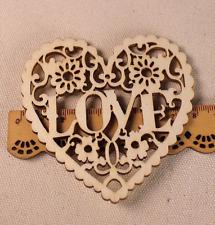 Holz Herz-Form 'LOVE' hohl Kunsthandwerk DIY Embellishments Scrapbooking 8cm