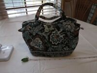 VERA BRADLEY JAVA BLUE Sherry hand Bag Small Tote purse Rare! Retired pattern