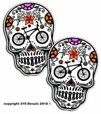 PAIR BMX Bike Bicycle Sugar Skull Decal Stickers OEM Die Cut Vinyl Cycle Cycling