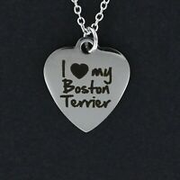 I Love My Boston Terrier Heart Necklace - Large Stainless Steel Charm Dog NEW