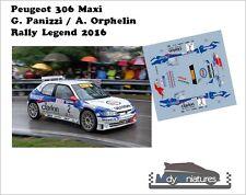 Décals 1/43ème G. Panizzi - Peugeot 306 Maxi - Rally Legend 2016