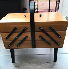 Vintage Wooden Cantilever Sewing Box On Legs Good Condition