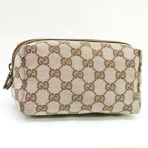 GUCCI GG Pattern Canvas Cosmetic Pouch Purse 039 1117 002404 Beige Brown