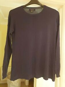 Ladies Jumper Atmosphere Navy Blue Size 12 Long Sleeve Thin Knit