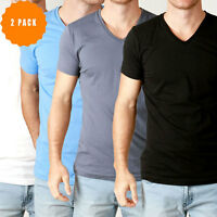 New Mens Basic V Neck T Shirt Slim Fit Cotton Premium Slim Fit Tees 2 Pack PT