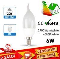 LAMPADINA LAMPADA LED FILAMENTO FIAMMA 6 WATT E14 BASSO CONSUMO FREDDA CALDA NEW