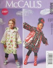 McCalls Pattern M6692 Child Girl Unlined Coat w Hood or Collar 2-3-4-5 New Uncut