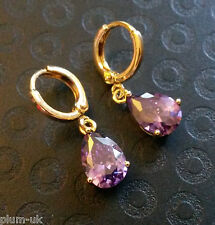 E18 Purple amethyst pear drop 18k gold filled hoop earrings in gift box Plum UK
