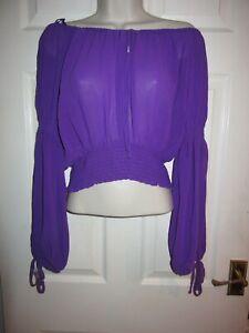 BNWT UK 6 River Island Top Crop Long Sleeve Purple Bardot Semi Sheer Boho Chiffo