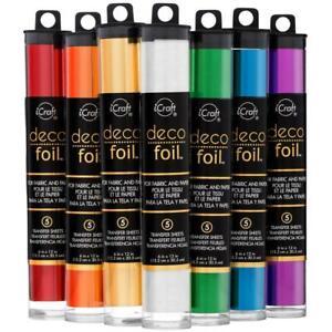 "Deco Foil Transfer Sheets Choose from 26 Colours. 5 pack 6""x 12"" 15.2cm x 30.4cm"