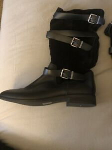 ASOS WOMENS BOOTS BLACK FLAT SIZE 11 US, Size 9 UK NEW LEATHER AND SUEDE