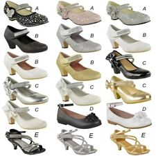 Girls Kids Childrens Low Heel Party Wedding Mary Jane Sparkly Sandals Shoes Size