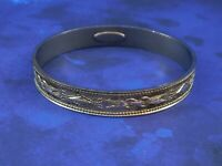Vintage Whiting and Davis Signed Bangle Bracelet Gold Tone Intricate Gold Tone