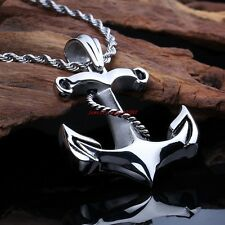 Hiphop Punk Cool Men's 316L Stainless Steel Anchors Pattern Pendant High Quality