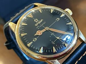 MAGNIFICENT SOLID GOLD 9CT 'OMEGA DELUXE' BLACK CROSSHAIR DIAL MANUAL WATCH