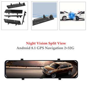 "12"" Car Android 8.1 GPS 2+32G Dash Cam Rear Mirror Camera Recorder Split View"