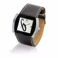 Edle Damenuhr Armbanduhr Silber Leder Schwarz Neu Top Uhr aus Insolvenz  #8627