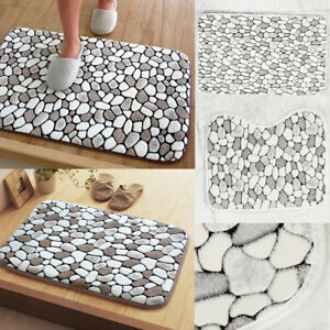 2PCS PEBBLES BATH & PEDESTAL MAT SETS NON SLIP SOFT LUXURY BATHROOM RUGS